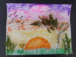 example of nature drawing with sunset and tree