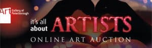 Graphic that reads: it's all about ARTISTS online art auction