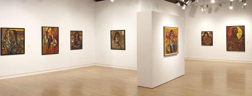 Gallery view of the exhibition Arthur Shilling: The Final Works featuring various portraits installed in the AGP's main gallery