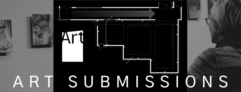 """Black and white floor plan of the AGP's main gallery and person looking at art installed on the AGP ramps. Text reads: """"Art Submissions."""""""