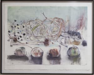 Jane LowBeer, String Theory, painting featuring fruit and vines
