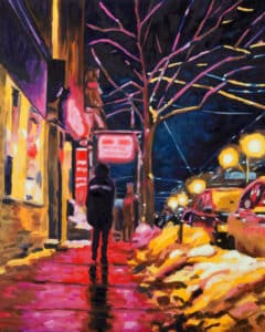 Rob Niezen, Neon Candy, painting featuring a night street view