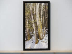 landscape painting featuring cedar trees and snow resting on a ledge