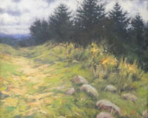 landscape painting featuring grassy hill with evergreen trees in background