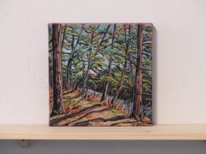 stylized painting featuring pine trees on a hill