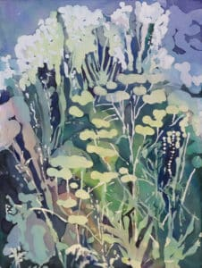 watercolour painting with florals in pastel shades