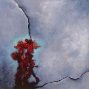 abstract painting on primarily blue background featuring red at lower left corner