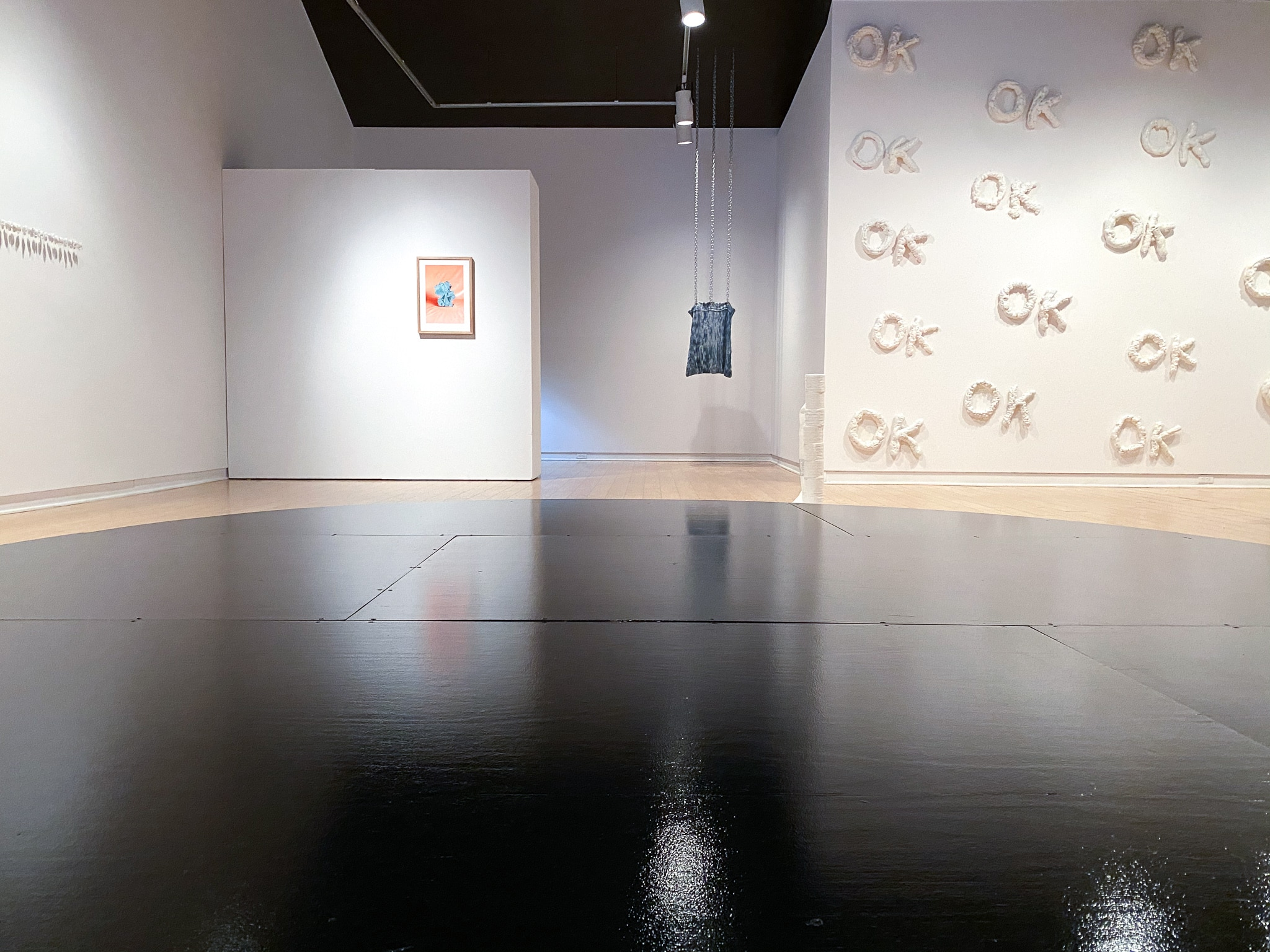 Gallery view of the exhibition Presently. Various works installed in the AGP's main gallery.