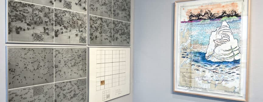 Left: Robin Mackenzie, A Print in Four Parts; Right: Anne Meredith Barry, Coastal Journey #2: Past the Dog Island
