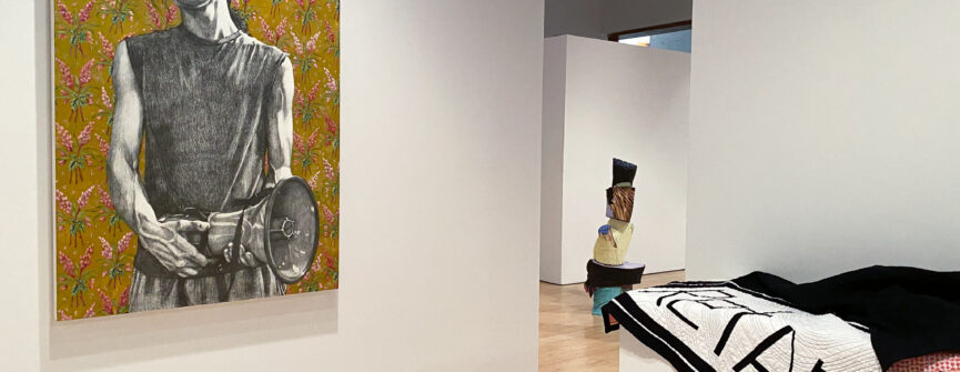 From Left: work by Fiona Crangle, Ale Groen, and Brandon Wulff