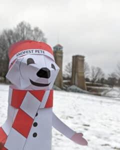 Snofest Pete Sculpture in front of the Peterborough Liftlocks