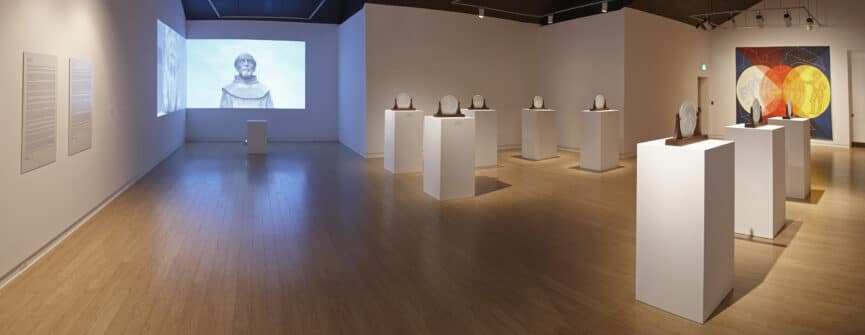 Bonnie Devine, Installation view of La Rábida, Soul of Conquest: an Anishinaabe encounter. Sept 17, 2016 - Jan 8, 2017 at the Art Gallery of Peterborough. Photo by Michael Cullen, TPG Digital Arts, Toronto