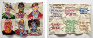 hand embroidered tapestries with portraits and text