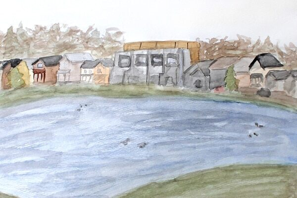 Watercolour landscape painting featuring a lake, ducks, and houses