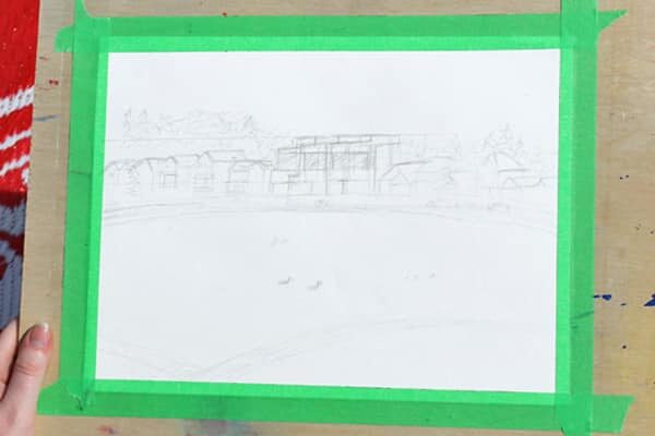 Pencil drawing of a landscape featuring with a lake and houses