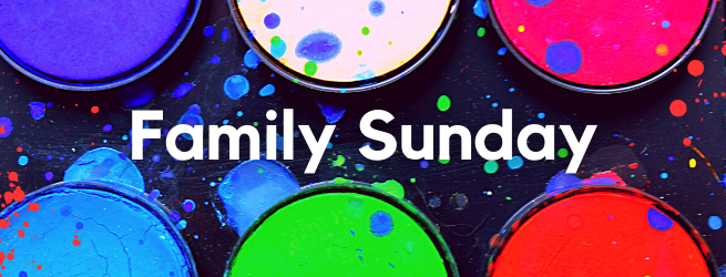 "Multicolour watercolour palette. Text reading: ""Family Sunday"""