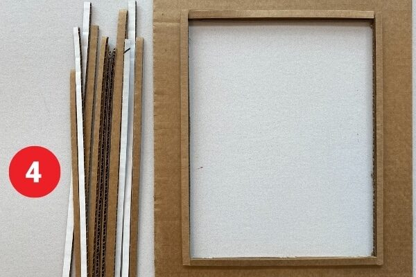 """Detail of a piece of cardboard with the middle cut out making a rectangular frame and strips of cardboard. Text reads """"4."""""""