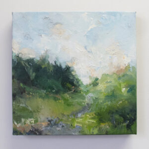 Abstract oil painting by Megan Ward. Tree landscape in pastel colours and gestural brush strokes.