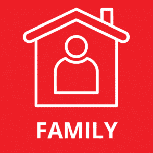 Family Membership Icon. Red background with white graphic of a person inside a house