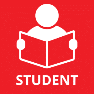 Student Membership Icon. Red background with white graphic of a person reading a book