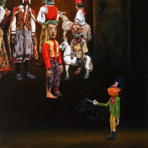 Oil painting by Rob Niezen. Series of hanging marionettes. Figure wearing a black hat and a green coat pointing scissors at the marionettes.