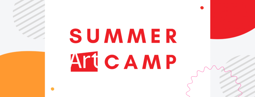 """AGP logo with orange, red, and grey circular forms. Text reads: """"Summer Art Camp."""""""