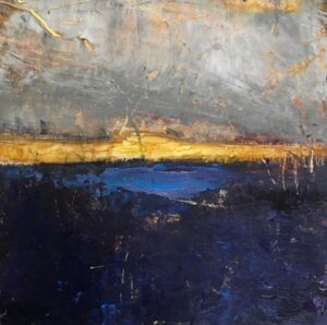 Cold wax and oil painting by Donna Bolam. Textured abstract landscape in blue, white, yellow.