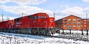 painting of a red CN train in winter in front of a red brick factory