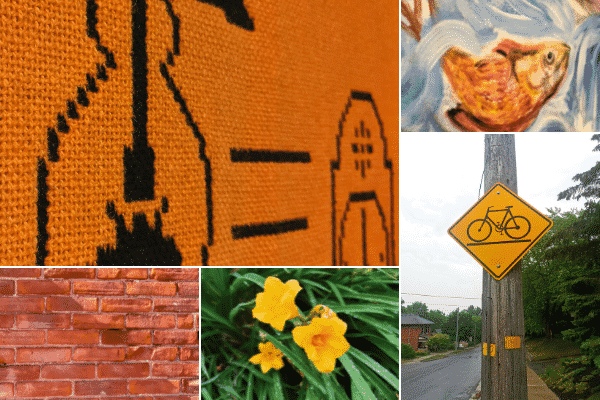 Grid with 5 images. Clockwise, from top-left corner: orange and black embroidery of a lamp and clock; painting of a gold fish in water; bicycle lane street sign on hydro pole; orange flowers; brick wall