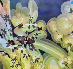 A Painting of flowers with warm gradations and a blue background.