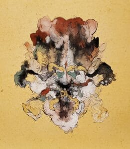 graphic rendering of an organic form using natural pigments on natural paper