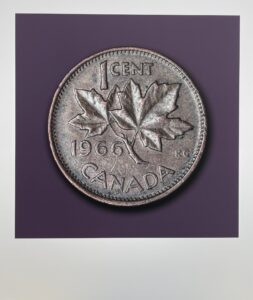 printed image of a Canadian penny from 1966 on a grey/purple background